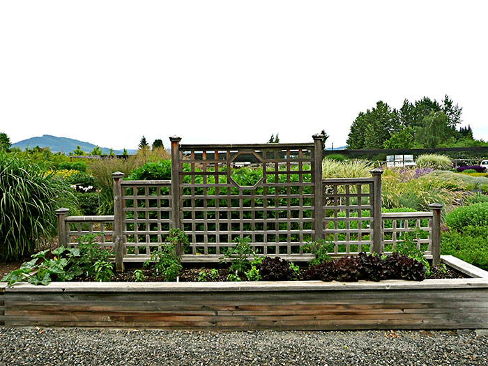 The Center Raised Bed At Mount Hood Gardens In Late June Tiered Trellis Supports